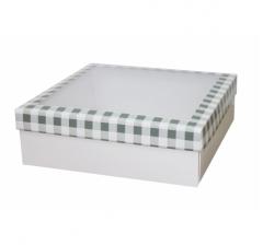 Коробка с окном 250*250*80 мм, дизайн НГ2020-7, белое дно