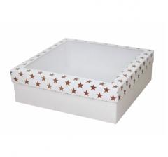Коробка с окном 250*250*80 мм, дизайн НГ2020-11, белое дно