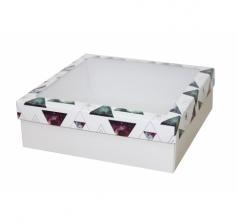 Коробка с окном 250*250*80 мм, дизайн НГ2020-13, белое дно