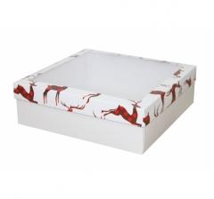 Коробка с окном 250*250*80 мм, дизайн НГ2020-5, белое дно