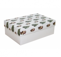 Коробка 230*150*80 мм, дизайн НГ2020-19, белое дно