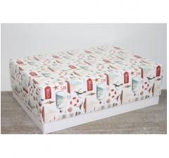 Коробка подарочная 390*270*130 мм, дизайн 2020-63 белое дно