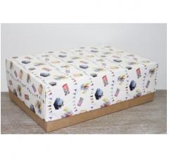 Коробка подарочная 390*270*130 мм, дизайн 2020-52 крафт дно