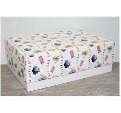 Коробка подарочная 390*270*130 мм, дизайн 2020-52 белое дно