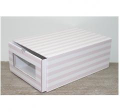 Коробка для хранения 364*224*142 мм, розовые полосы