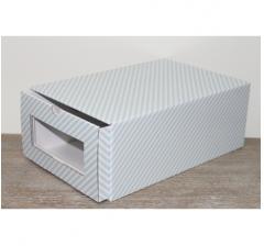 Коробка для хранения 364*224*142 мм, голубые полосы