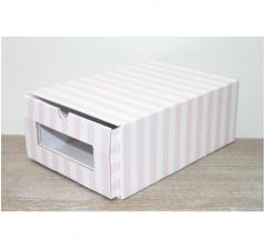 Коробка для хранения 313*220*123 мм, розовые полосы