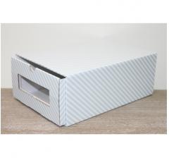 Коробка для хранения 313*220*123 мм, голубые полосы