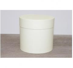 Коробка для цветов круглая, d-120, h-110, ванильный