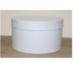 Коробка для цветов круглая, d-200, h-110 мм, бело-голубой