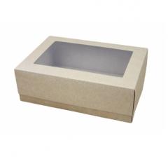 Коробка подарочная с окном 390*270*130 мм, крафт/крафт