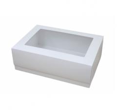 Коробка подарочная с окном 390*270*130 мм, белая