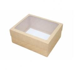 Коробка подарочная с окном 280*230*120 см, крафт/крафт