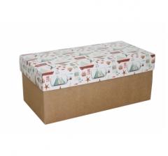 Коробка подарочная 360*180*150, дизайн 2020-11, крафт дно