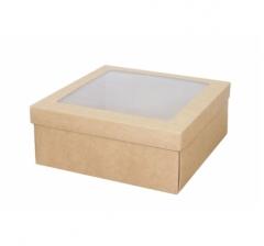 Коробка подарочная с окном 170*170*70 мм, крафт/крафт