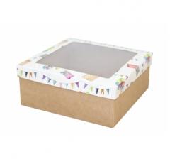 Коробка подарочная с окном 170*170*70 мм, дизайн 2020-8, крафт дно