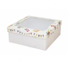 Коробка подарочная с окном 170*170*70 мм, дизайн 2020-8, белое дно