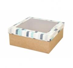 Коробка подарочная с окном 170*170*70 мм, дизайн 2020-10, крафт дно