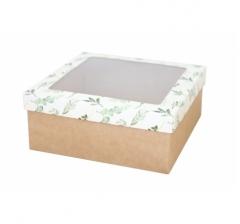 Коробка подарочная с окном 170*170*70 мм, дизайн 2020-1, крафт дно