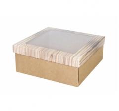 Коробка подарочная с окном 170*170*70 мм, дизайн 2020-5, крафт дно