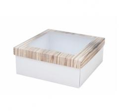 Коробка подарочная с окном 170*170*70 мм, дизайн 2020-5, белое дно