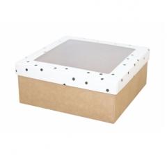 Коробка подарочная с окном 170*170*70 мм, дизайн 2020-9, крафт дно