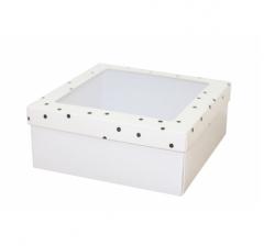 Коробка подарочная с окном 170*170*70 мм, дизайн 2020-9, белое дно