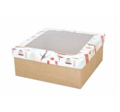 Коробка подарочная с окном 170*170*70 мм, дизайн 2020-11, крафт дно