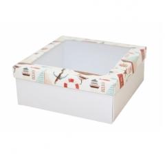 Коробка подарочная с окном 170*170*70 мм, дизайн 2020-11, белое дно