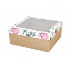 Коробка подарочная с окном 170*170*70 мм, дизайн 2020-4, крафт дно