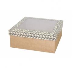 Коробка подарочная с окном 170*170*70 мм, дизайн 2020-12, крафт дно