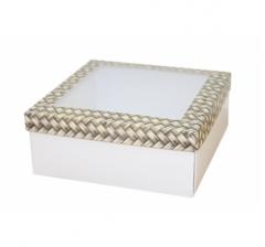 Коробка подарочная с окном 170*170*70 мм, дизайн 2020-12, белое дно