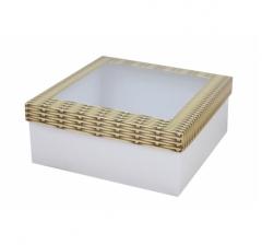 Коробка подарочная с окном 170*170*70 мм, дизайн 2020-6, белое дно