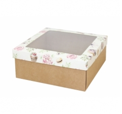 Коробка подарочная с окном 170*170*70 мм, дизайн 2020-3, крафт дно