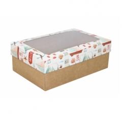 Коробка подарочная с окном 230*150*80, дизайн 2020-35 с крафт дном