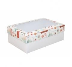 Коробка подарочная с окном 230*150*80, дизайн 2020-35 с белым дном