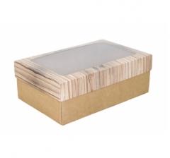 Коробка подарочная с окном 230*150*80, дизайн 2020-29 с крафт дном