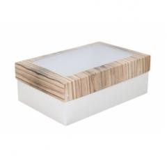 Коробка подарочная с окном 230*150*80, дизайн 2020-29 с белым дном