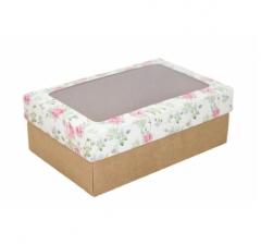 Коробка подарочная с окном 230*150*80, дизайн 2020-26 с крафт дном