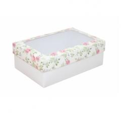 Коробка подарочная с окном 230*150*80, дизайн 2020-26 с белым дном