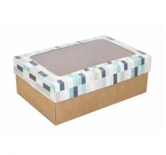 Коробка подарочная с окном 230*150*80, дизайн 2020-34 с крафт дном