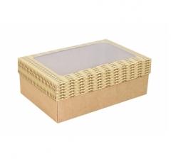Коробка подарочная с окном 230*150*80, дизайн 2020-30 с крафт дном