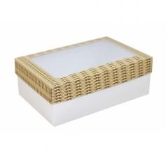 Коробка подарочная с окном 230*150*80, дизайн 2020-30 с белым дном