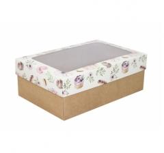 Коробка подарочная с окном 230*150*80, дизайн 2020-27 с крафт дном