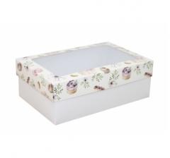 Коробка подарочная с окном 230*150*80, дизайн 2020-27 с белым дном