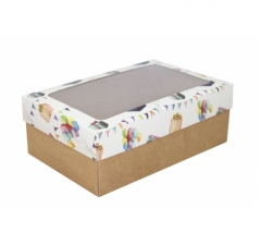 Коробка подарочная с окном 230*150*80, дизайн 2020-32 с крафт дном
