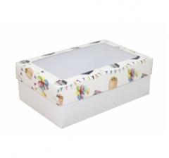 Коробка подарочная с окном 230*150*80, дизайн 2020-32 с белым дном