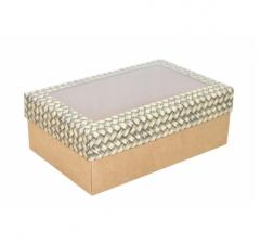 Коробка подарочная с окном 230*150*80, дизайн 2020-36 с крафт дном