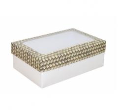 Коробка подарочная с окном 230*150*80, дизайн 2020-36 с белым дном