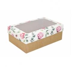 Коробка подарочная с окном 230*150*80, дизайн 2020-28 с крафт дном